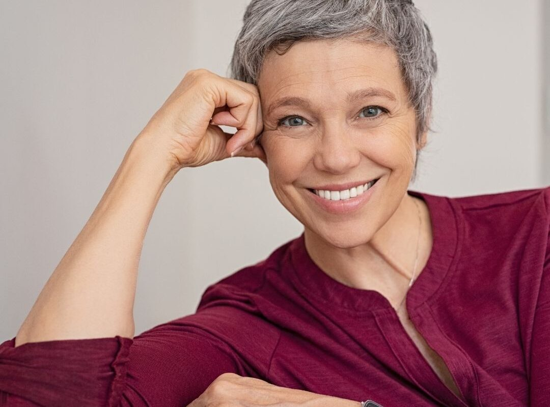 Woman with great oral health smiling